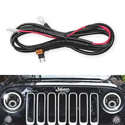goodrun 1pcs jeep wranglert headlights halo drl harness - headlight drl  angel eyes halo ring extension