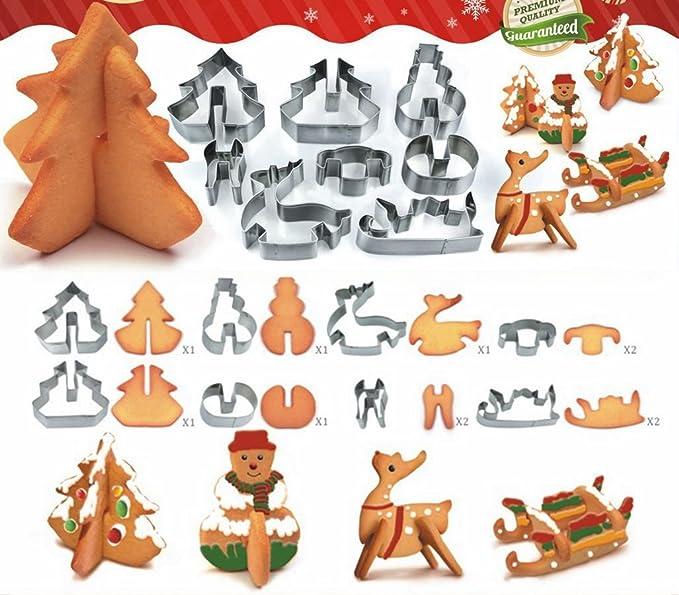Lovechef - Moldes, Juego de 25 moldes, moldes de Navidad, para cortar pasta, molde para repostería, forma de nieve/estrella/corazón/círculo/de flores de ...