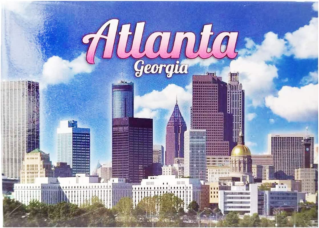 City of Atlanta Georgia State Skyline Refrigerator Magnet Colorful Atlanta Cityscape Picture Foil Fridge Magnet