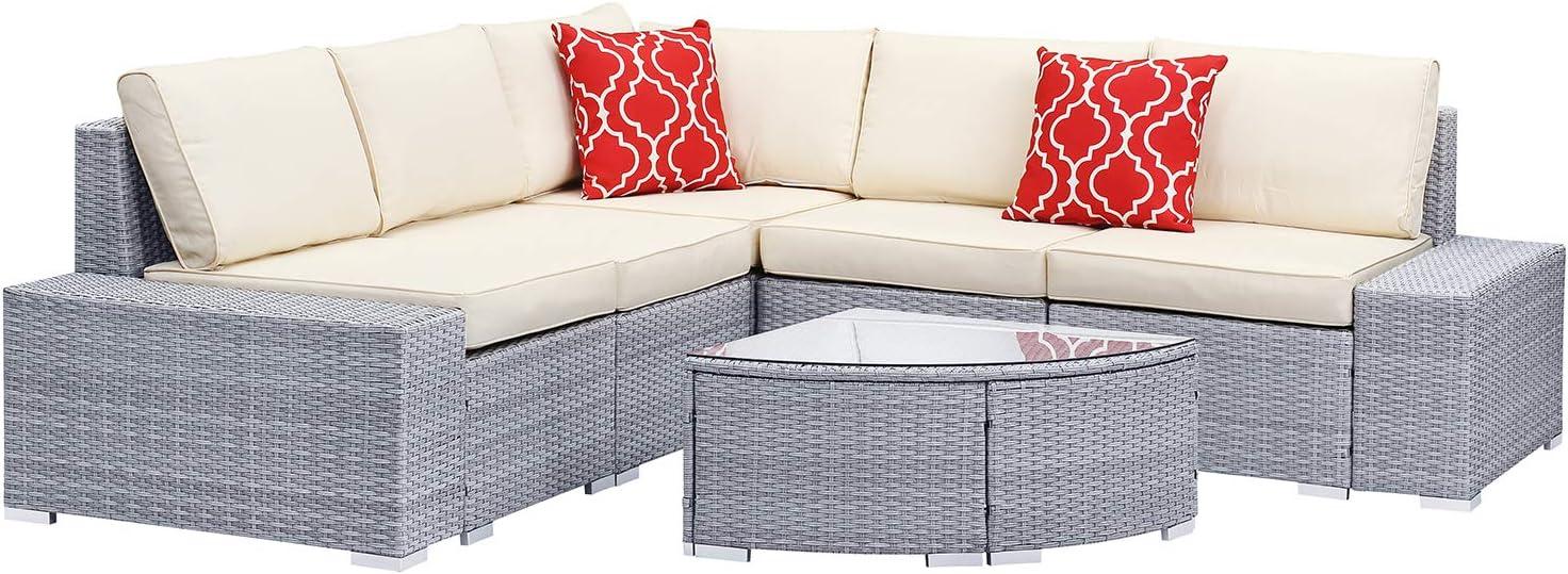 PUPZO 6Pcs Patio Furniture Sets Outdoor PE Rattan Waterproof Cushion Wicker Sectional Conversation Sofa for Garden Yard Pool Backyard Gray (Gray-Type 2)