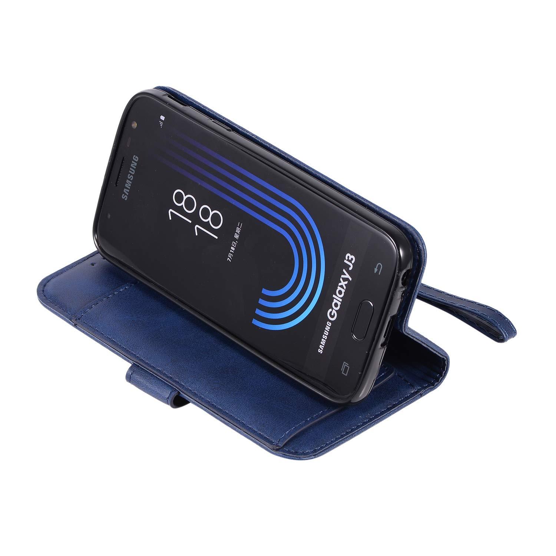 HUDDU Handyh/ülle Kompatibel mit Samsung Galaxy J3 2017 J330 H/ülle Leder Wallet Schutzh/ülle 5 Kartenf/ächer Rei/ßverschluss Brieftasche Magnetverschluss Tasche PU Case St/änder Lederh/ülle Wristlet Grau