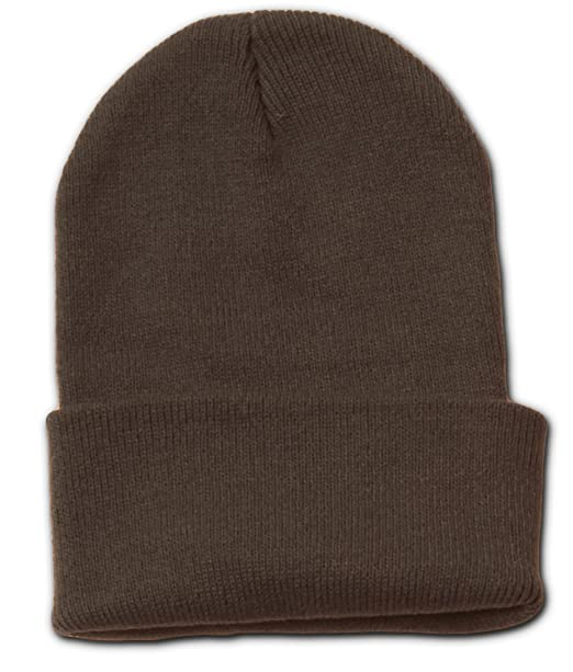 Amazon.com  Plain Blank Long Beanie Cap Hat - Brown  Clothing 041d15e22d4