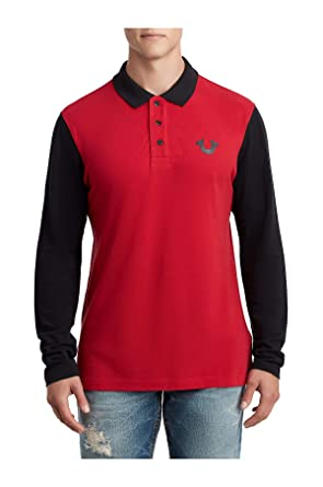 cfd3d15f True Religion Men's Horseshoe Logo Long Sleeve Polo Shirt (Ruby Red/Black,  XXX