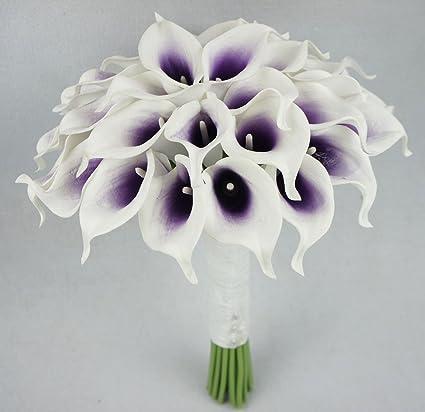 Amazon lily garden luxury calla lily bridal wedding bouquet 3 lily garden luxury calla lily bridal wedding bouquet 3 dozen with groom boutonniere purple center junglespirit Gallery