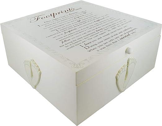 Crema marfil de madera bebé huellas caja de bautizo regalo de recuerdo de memoria de almacenamiento: Amazon.es: Hogar
