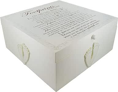 Crema marfil de madera bebé huellas caja de bautizo regalo de ...