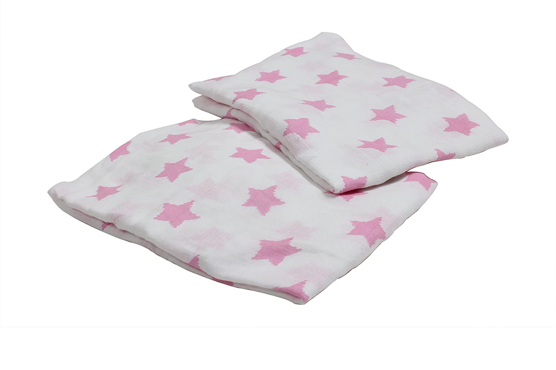 Bacati Stars Muslin 2 Piece Play Yard Sheets 100 Percent Cotton Pink Inc STPKM2PYS