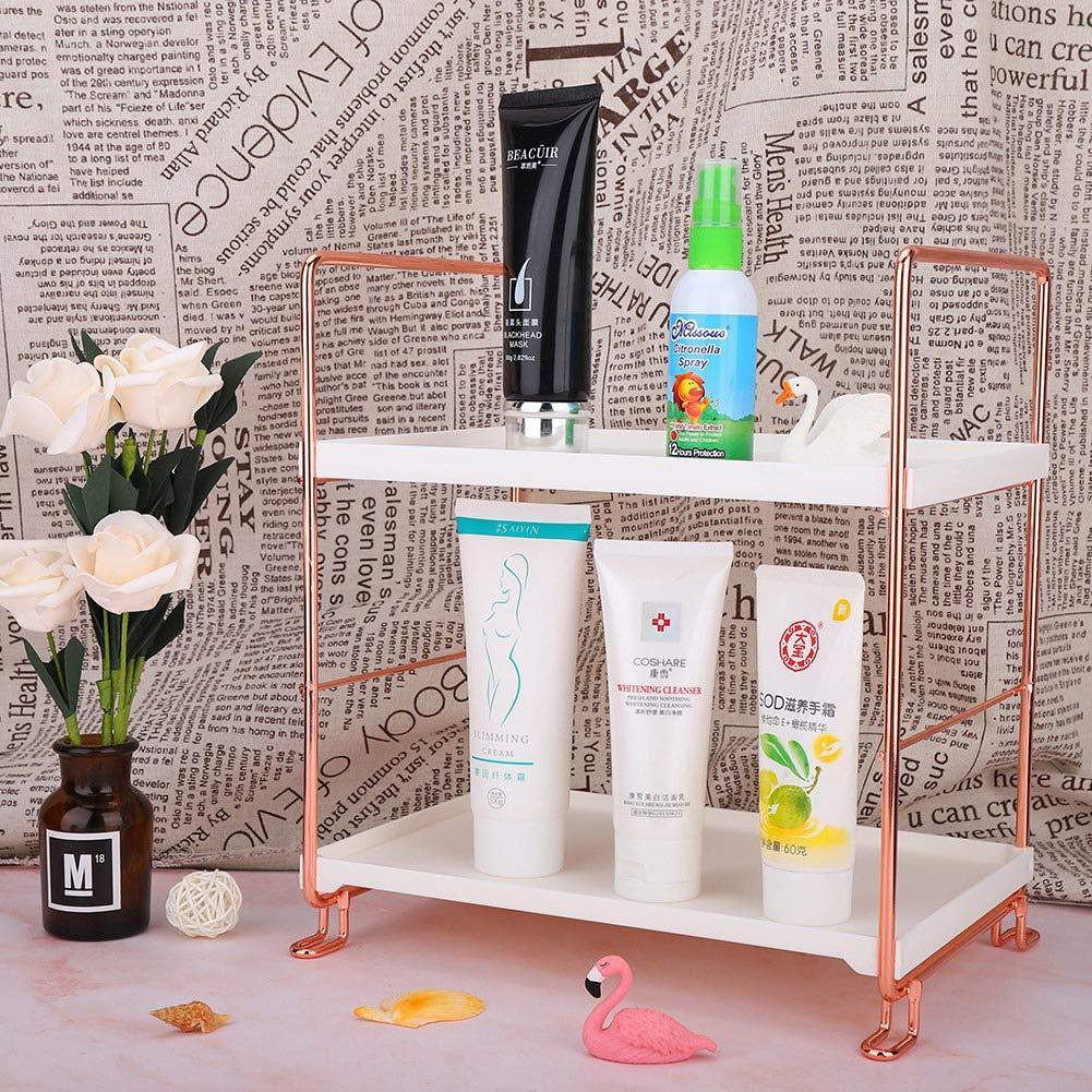 gr/ö/ße : 25 * 17 * 45cm Minmin-zhenggaojia Desktop Kosmetik Aufbewahrungsbox Home Europ/äischen Schminktisch Badezimmer Rose Gold Hautpflege Multi-Layer-Rack