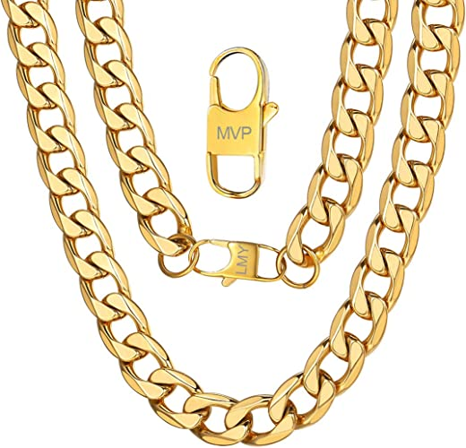 6mm Chain Necklace Very Sturdy and Durable 18//20//22//24//26//28//30 inch Black//18K Real Gold Plated 316L Stainless Steel Flat Box Chain for Men Women