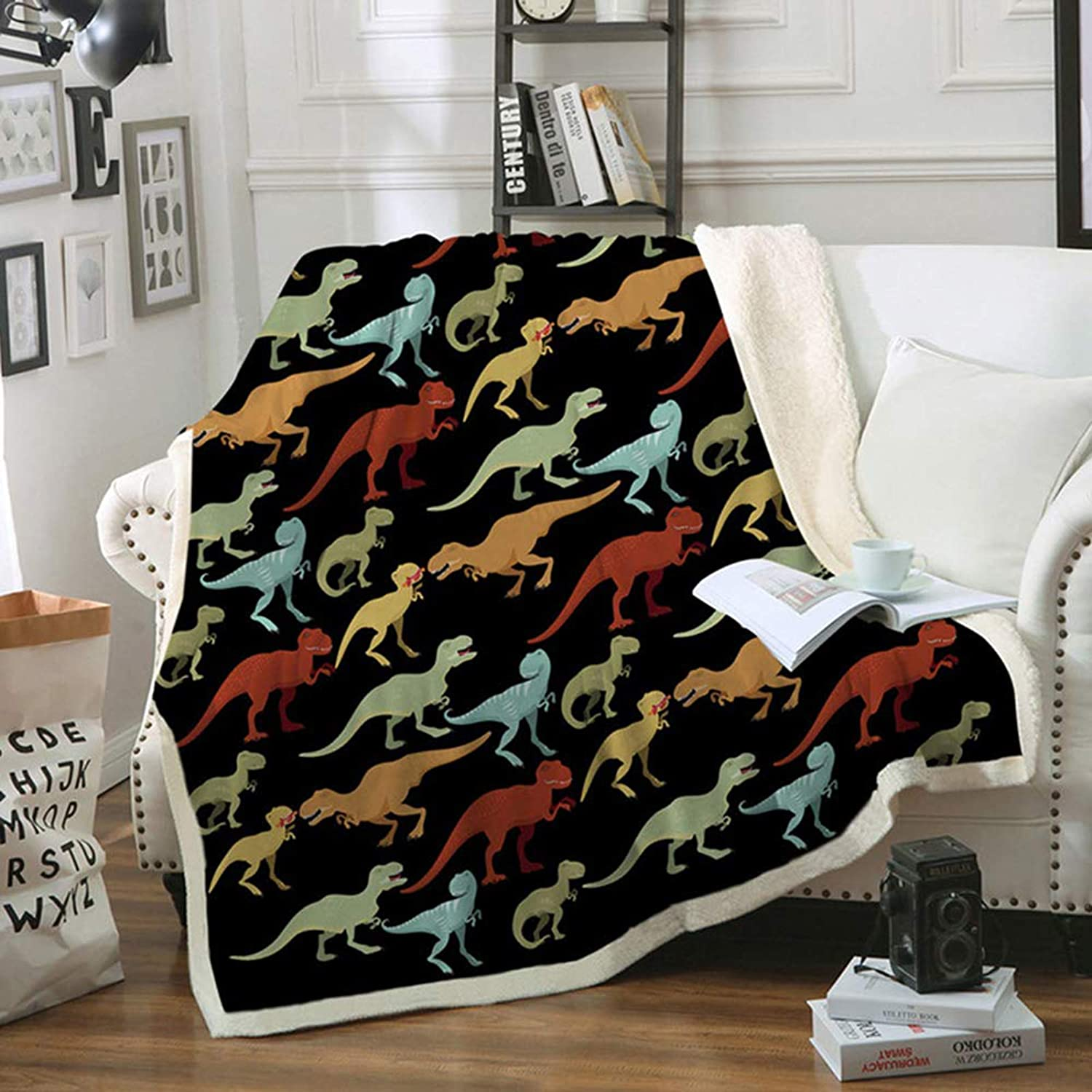 "Dinosaur Kids Throw Blanket Plush Fleece Blanket Boys Jurassic Dinosaur Cartoon Velvet Reversible Soft Blanket for Baby Crib Bed Couch Chair Office Sofa Living Room Decor (Twin Size, 60"" x 80"")"