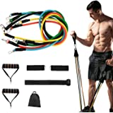 11 Pack Full Body Resistance Band Exercises set,Including 5 Stackable Exercise Bands with Door Anchor,2 Foam Handle,2 Metal Foot Ring & Carrying Case - Home Workouts,Physical Therapy,Gym Training,Yoga