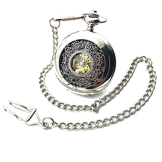 040645696 Image Unavailable. Image not available for. Color: Skeleton Steampunk  Silver Tone Case Black Dial Arabic Number Hand Wind Mechanical Mens Pocket  Watch w