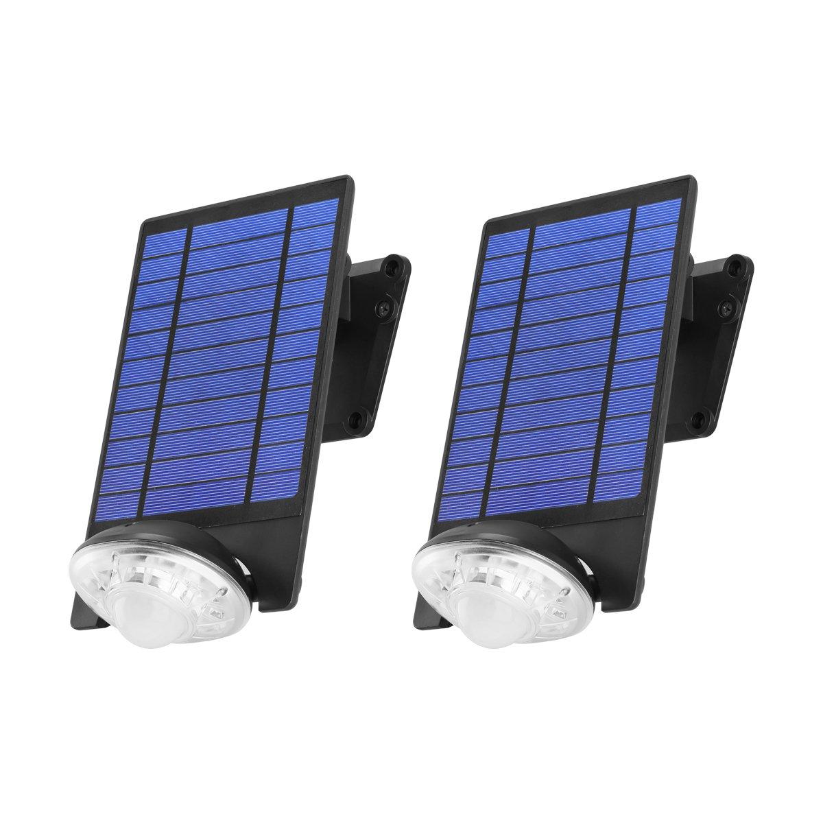 Link2Home EM-SL451B-2PK 250 Lumen LED Solar Security Adjustable Single-Head Sensor Spotlight with Photocell Technology and Ground Stake/Wall Mounting Bracket in Black, 2pk