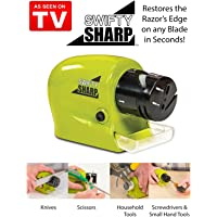 Jeval PERFECT SHOPO Plastic Swifty Sharp Cordless Motorized Knife Sharpener for Knife, Scissor and Screw-Driver (Green)