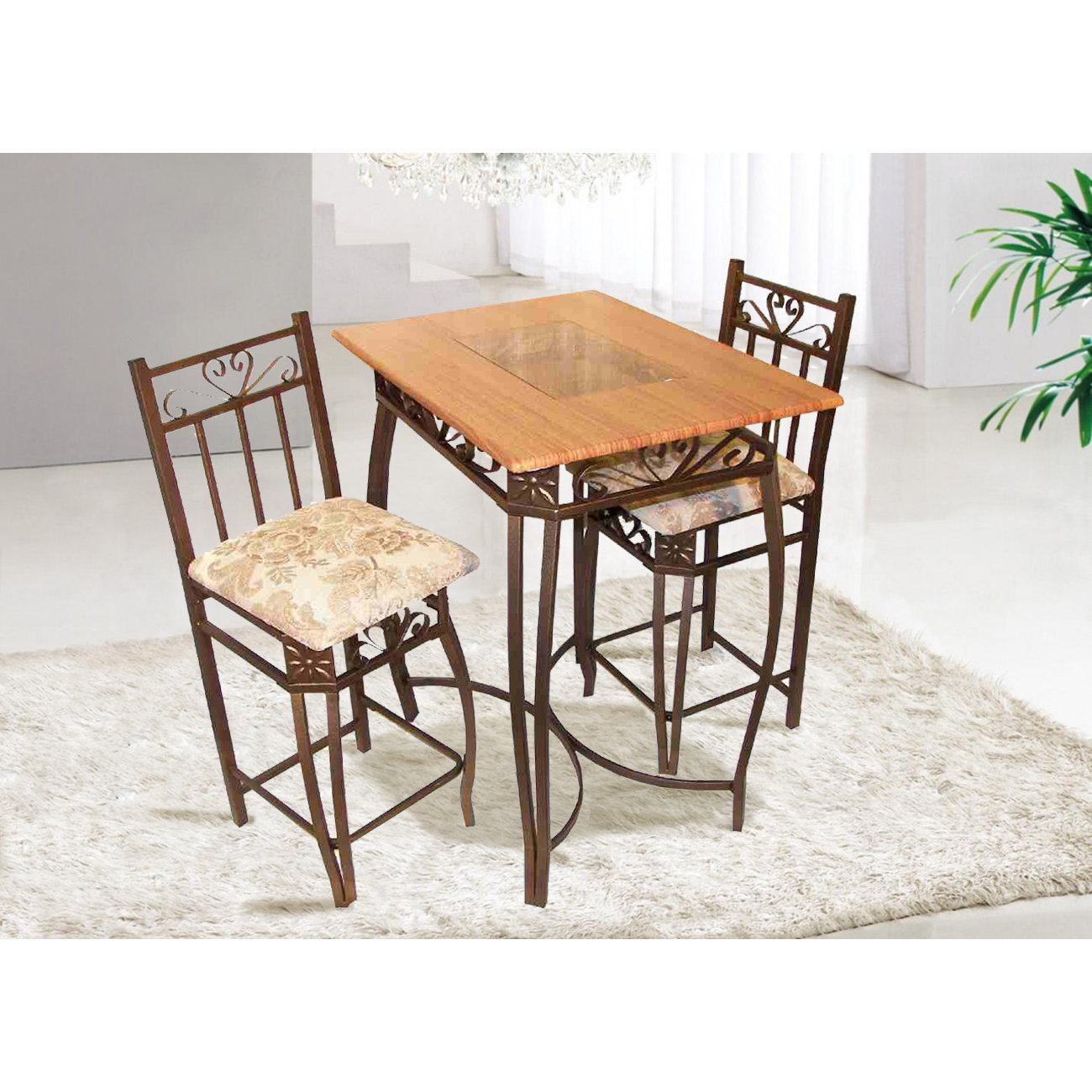 Home Source Industries Barcelona Bronze Metal Counter Bistro Set with Light Wood Table Top and 2 Chairs by Home Source Industries (Image #5)
