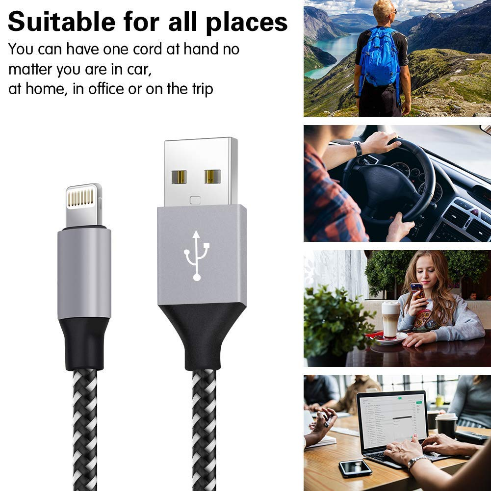 WUYA iPhone Charger Nylon Woven with Metal Connector Compatible iPhone Xs Max//X//8//7//Plus//6S//6//SE//5S iPad MFi Certified Lightning Cable 5 Pack 3//3//6//6//10FT Black and White