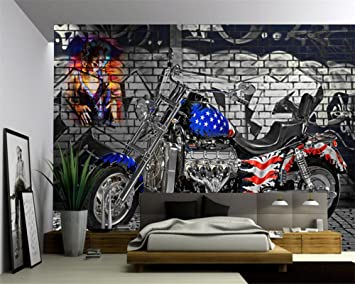 LWCX Custom large fresco wallpaper flag motorcycle photo 3D living