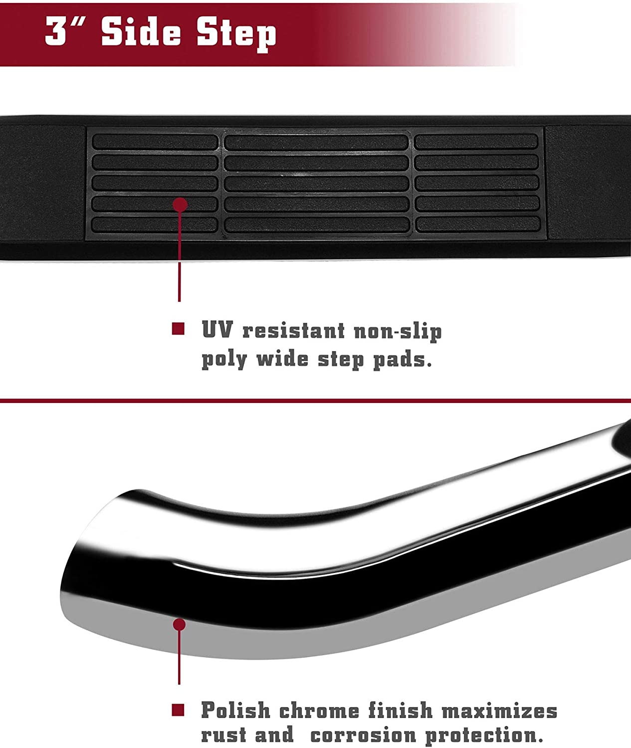 """2pcs Running Boards TAC Side Steps Running Boards Fit 2017-2020 Honda Ridgeline SUV 3/"""" Stainless Steel Chrome 304 Side Bars Nerf Bars Off Road Accessories"""
