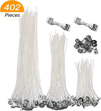 6Inch 100 PCS Natural Low Smoke Candle Wicks Pre-Waxed Cotton Core Wicks Centering Device Pillar Candle Making and Candle DIY Wicks with 100 PCS Stickers and 1PC Centering Device Holder