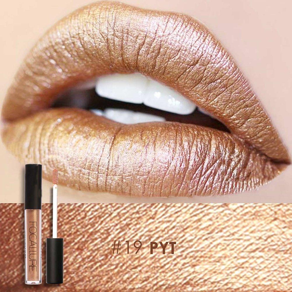 FOCALLURE Metal Lipgloss Lip Gloss Long Lasting Waterproof Lipstick Makeup Cosmetic 12 Types(#19)