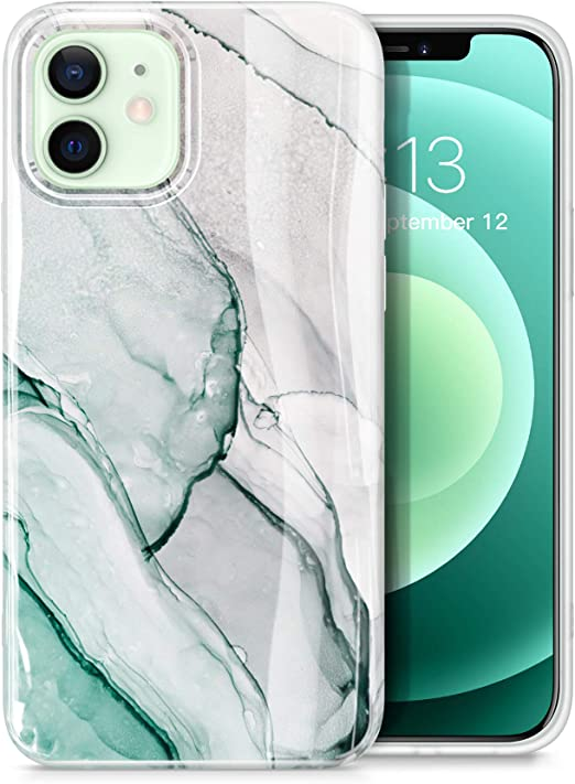 Gviewin Aurora Lite Series Kompatibel Mit Iphone 12 Hülle Iphone 12 Pro Hülle 6 1 2020 Ultra Dünn Glänzend Weich Silikon Tpu Marmor Stoßfest Handyhülle Cover Schutzhülle Agaria Blaugrün Elektronik