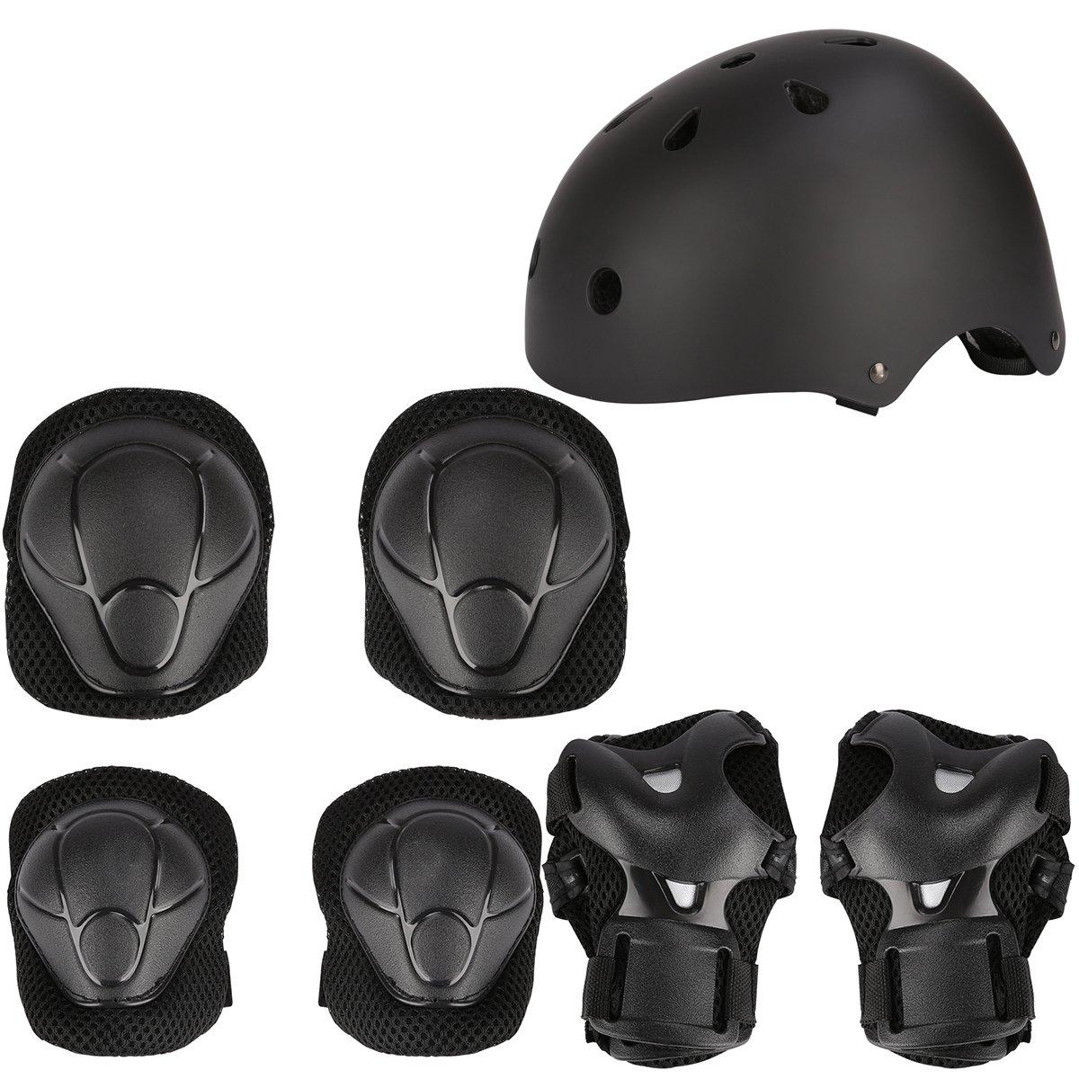 Herbalcandybox Kid's Protective Gear Set with Wrist Guard Knee Pads Elbow Pads Helmet,Black