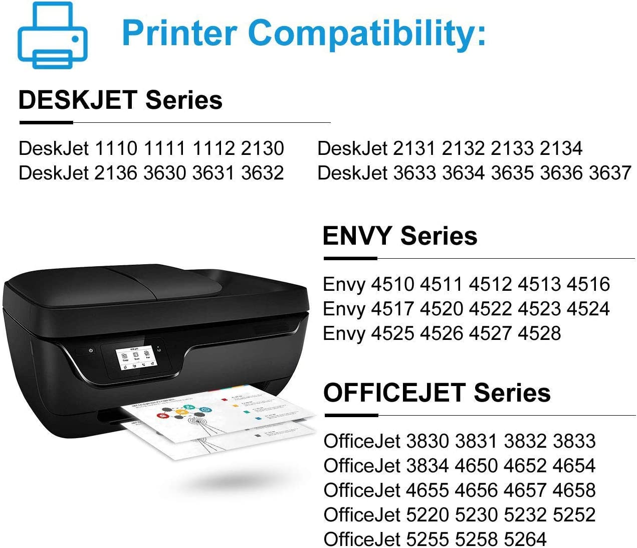 5PK Compatible with HP 63-XL Black F6U64AN 63XL Ink Deskjet 2132 2133 2134 3630