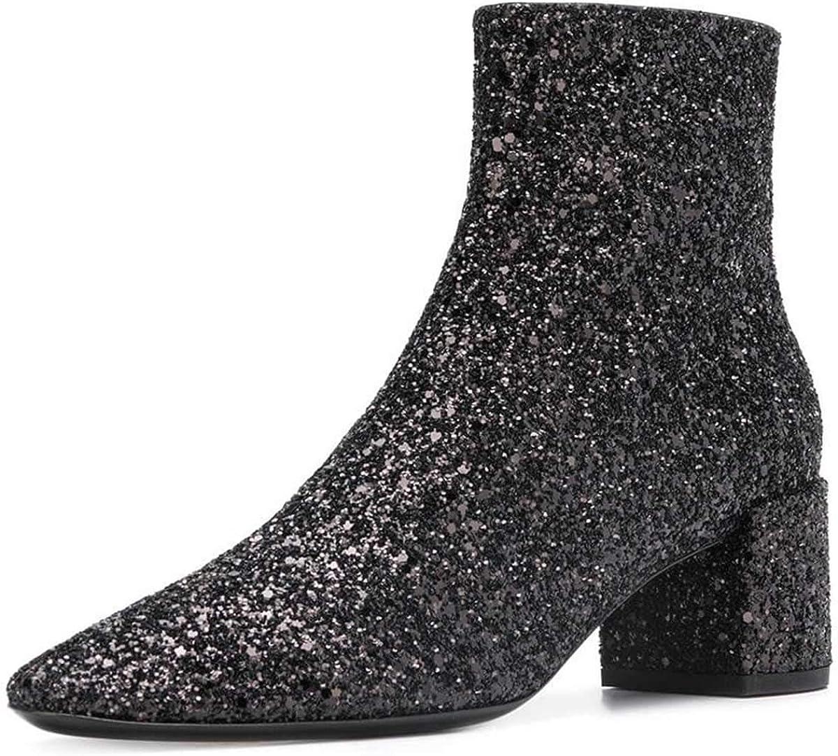 glitter block heel booties