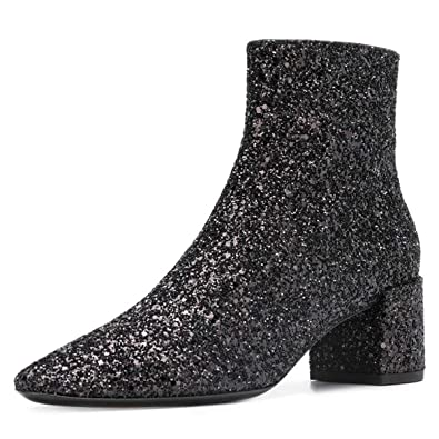 XYD Glitter Low Block Heel Ankle Boots Sequins Pointed Toe Dress Booties  Shoes with Zips Size 90147336baf3