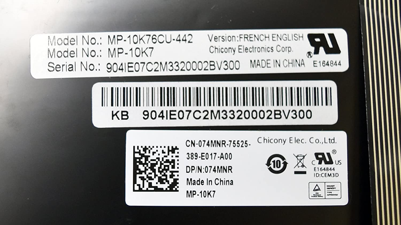New 74TVD Genuine for Dell Inspiron 15 5567 17 7779 7778 Laptop Keyboard 101 French English Bilingual M16NXC UBS Backlit Performance Keypad Number Pad NSK-EC0BW 4M Darfon 490.08507.0D4M PK131Q03B00