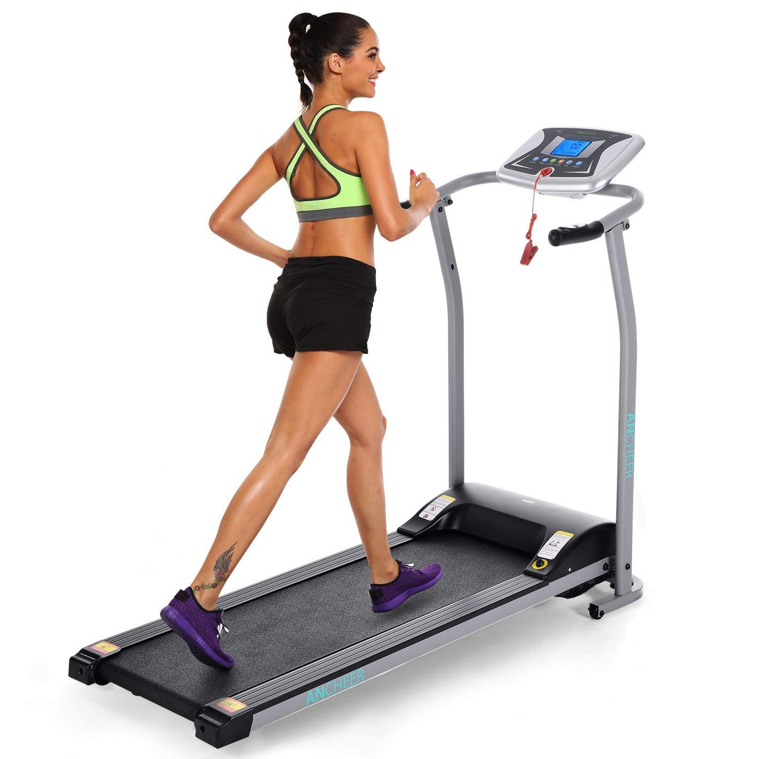 ANCHEER Folding Electric Treadmill, Motorized Running Treadmills with Rolling Wheels