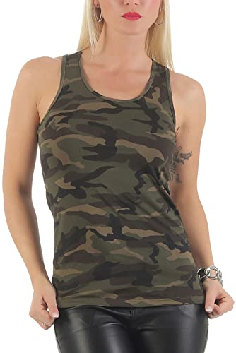 malito Camiseta Camuflaje Diseño Tank-Top Slim Fit CR-1206 Mujer