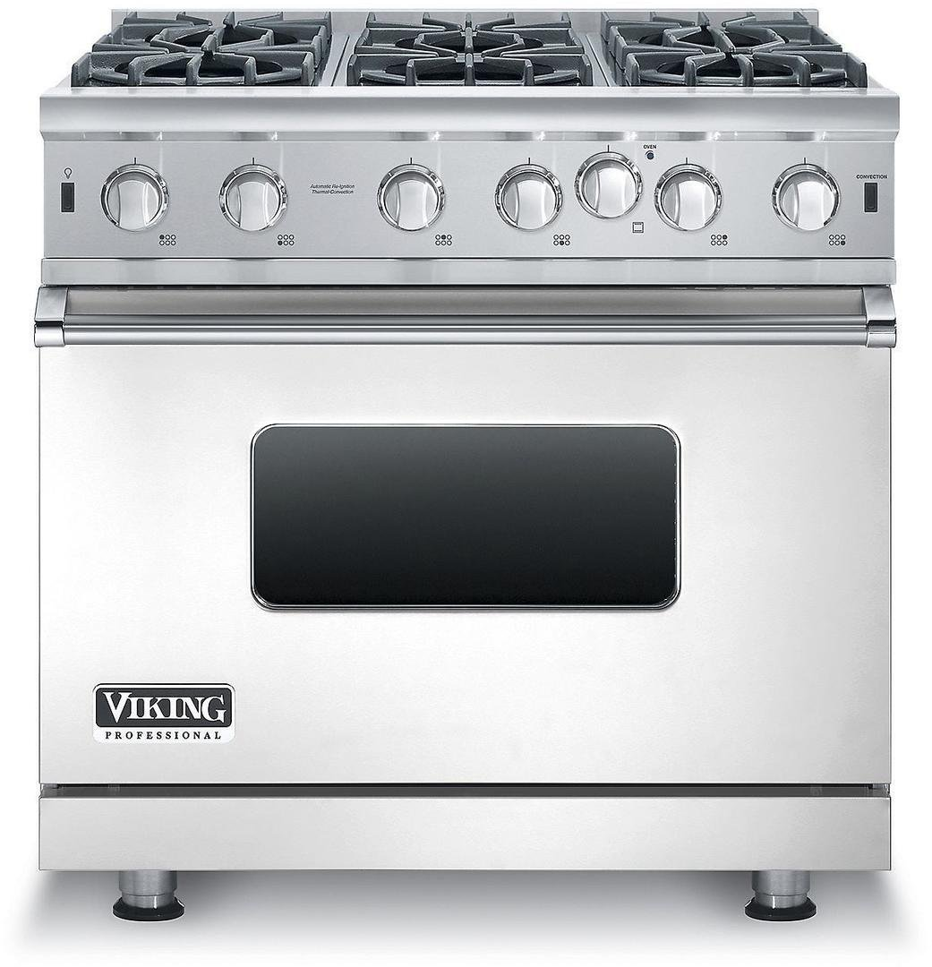 VGIC53616BSS 36 Professional 5 Series Gas Range with 6 Open Burners 5.1 cu. ft. Capacity VariSimmer Setting SureSpark Ignition and Gourmet-Glo Infrared Broiler in Stainless Steel