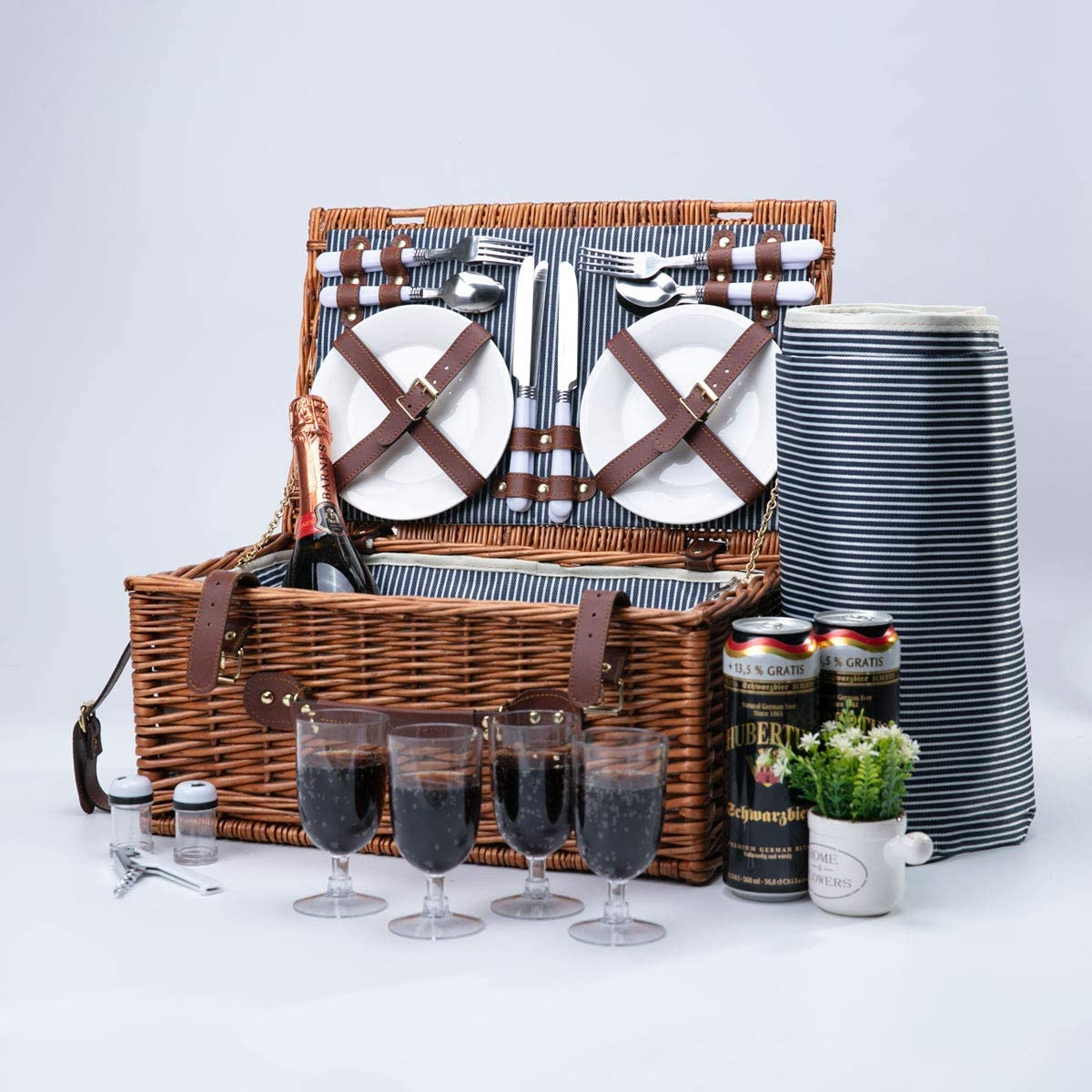 Amazon Com Arkmiido Wicker Picnic Basket Sets For 4 Willow Hamper Cutlery Service Kit With Insulated Cooler Compartment For Camping Outdoor Birthday Part Picnic Basket Sets With Blanket For Family Couples