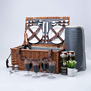 Arkmiido Wicker Picnic Basket Sets for 4,Willow Hamper Cutlery Service Kit with Insulated Cooler Compartment for Camping Outdoor Birthday Part | Picnic Basket Sets with Blanket for Family Couples