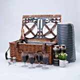 Arkmiido Retro Classic Picnic Baskets for 4,Willow Hamper Service Gift Set with Waterproof Blanket for Camping and…