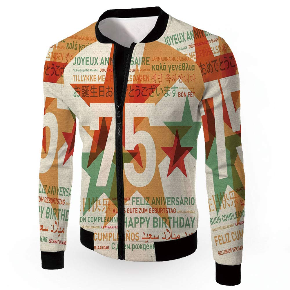 Multi15 Large iPrint Fashion Jackets,70th Birthday Decorations,Men's Zipup Lightweight Windbreaker C