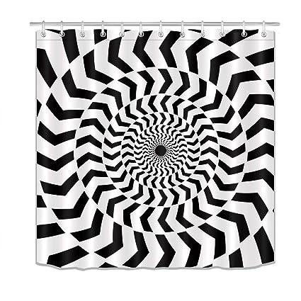 LB Spiral Black White Chevron Stripes Design Shower Curtains Set For Bathroom Modern Hypnotic Illusional