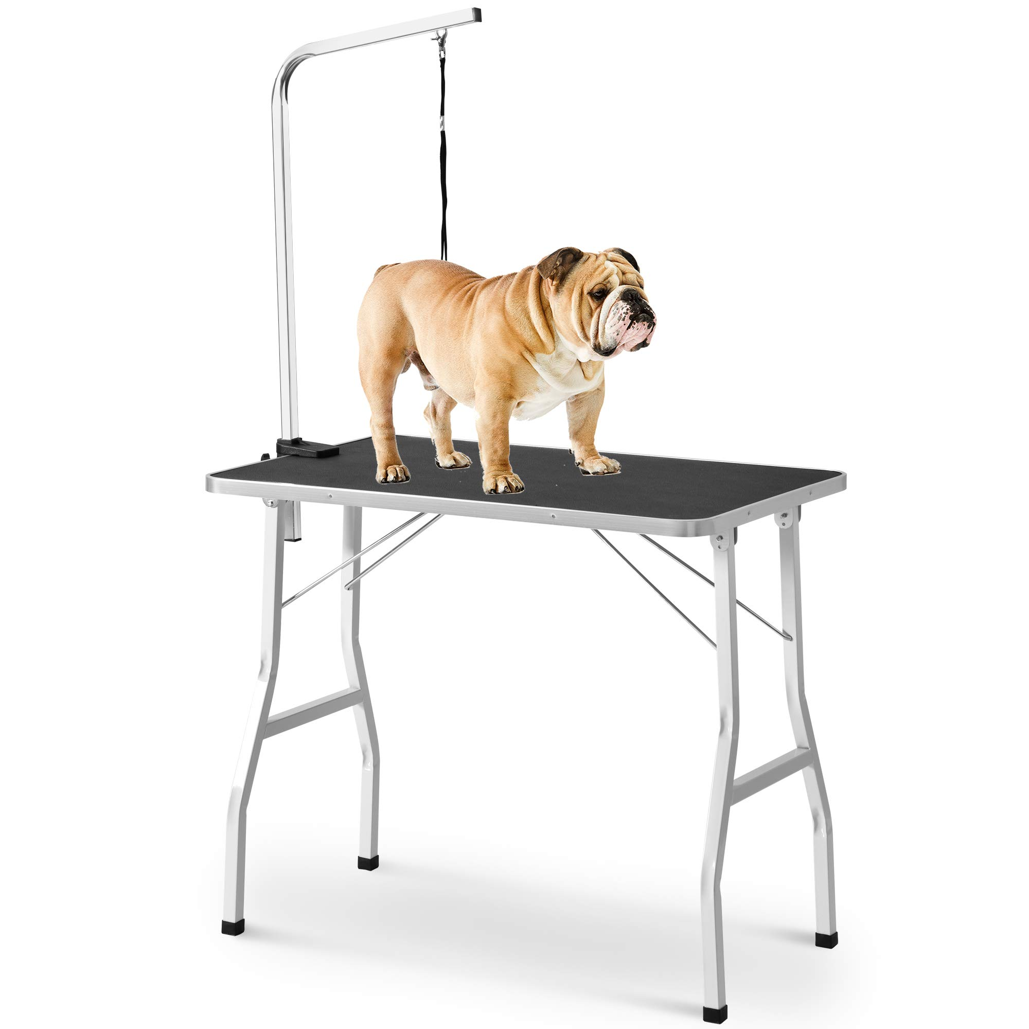 LZ LEISURE ZONE Dog Pet Grooming Table with Adjustable Arm and Noose (30'', Black)