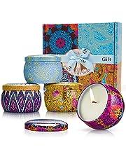Yansion Velas Perfumadas,Velas Aromaticas,Velas en Frasco,100% Soja Seguro, para decoración Regalo Dormitorio baño cumpleaños Yoga y Hogar regalos de mujer (Pack de Regalo 4)