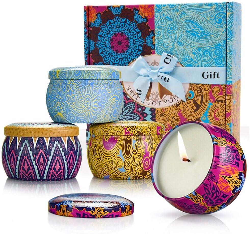 MMTX Velas Perfumadas Regalo(Pack de Regalo 4),Velas Aromaticas,Soja Velas en Frasco con limón,Lavanda,Higo para Dormitorio Yoga Aliviar la Presión Navidad Cumpleaños Regalos de Mujer
