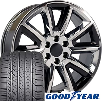 Amazon Com 22x9 Wheels Tires Fit Gmc Chevy Trucks And Suvs Chevrolet Tahoe Style Black Insert Chrome Rims And Goodyear Tires Hollander 5696 Set Automotive
