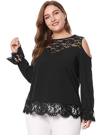d8fec0d73bdd3 Agnes Orinda Women s Plus Size Round Neck Lace Panel Cold Shoulder Top 1X  Black