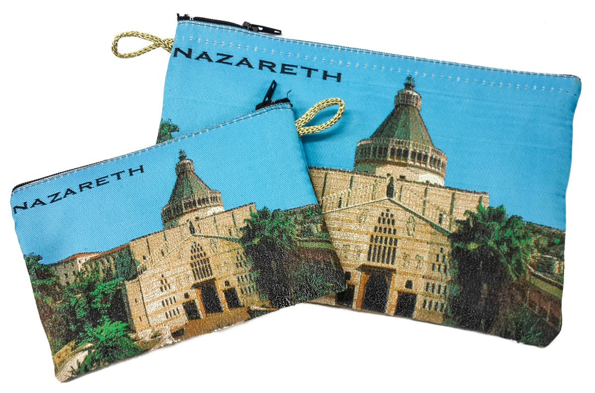 Nazareth Annunciation Church Set of 2 Icons Holder Cloth Rosary Case Tapestry Zipper Close Pouch From Holy Land by Nazareth Market Store