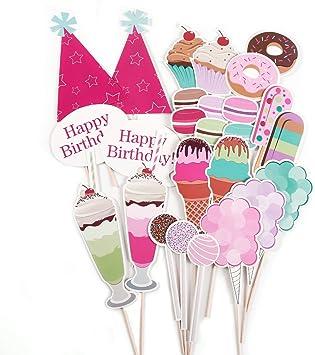 Pack de 26 Piezas Photocall para Fiesta Cumpleaños Set Decorativo Accesorios para Fiesta de Tema Rosado Dulce Helado: Amazon.es: Juguetes y juegos
