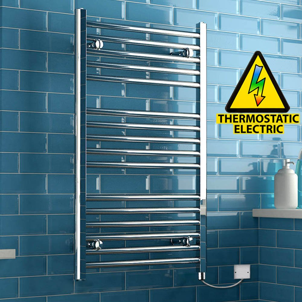 iBathUK 1200 x 450 Thermostatic Electric Heated Towel Rail Bathroom Radiator - All Sizes