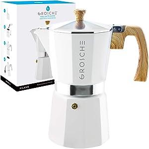 GROSCHE Milano Stovetop Espresso Maker Moka Pot 9 Cup- 15.2 oz, White - Cuban Coffee Maker Stove top Coffee Maker Moka Italian Espresso greca Coffee Maker Brewer Percolator