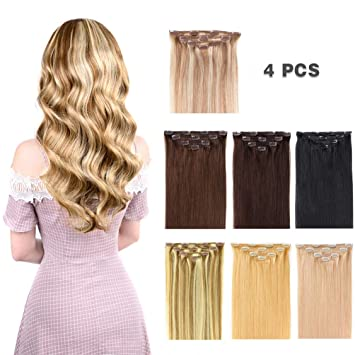 12 quot  Clip in Hair Extensions Remy Human Hair for Women - Silky Straight  Human Hair d8a532c30a