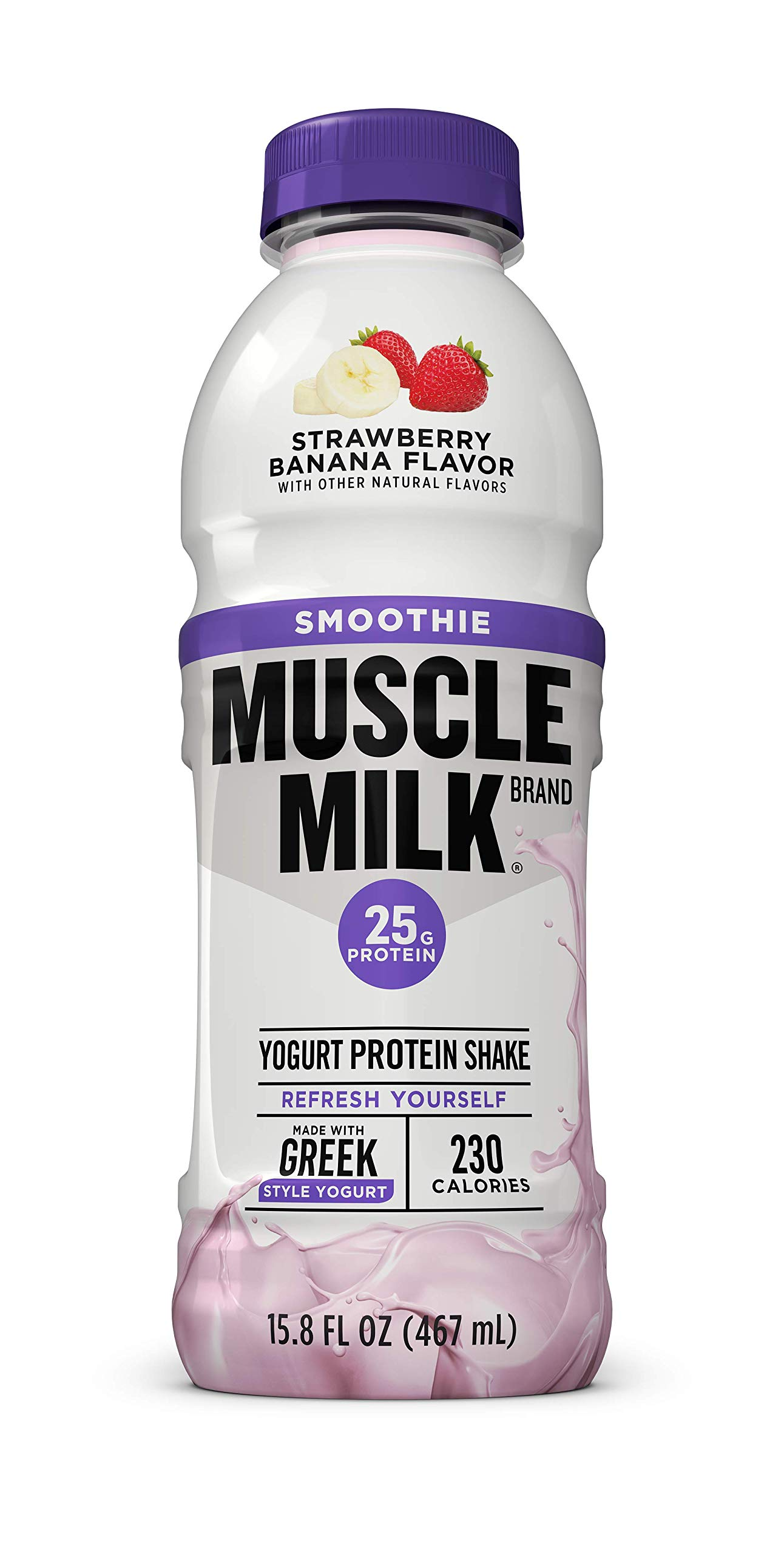Muscle Milk Smoothie Protein Yogurt Shake, Strawberry Banana, 25g Protein, 15.8 FL OZ, 12 Count by CytoSport