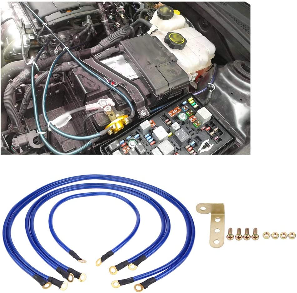 5-Point Universal Auto Car Earth Cable System Ground Grounding Wire Kit Kuuleyn Auto Grounding Kit Blue